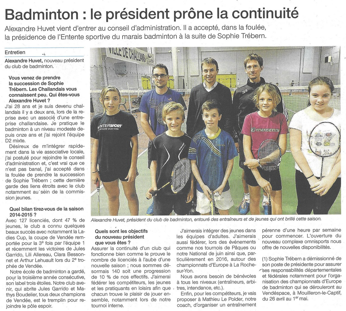 15 11 21 of badminton nouveau president